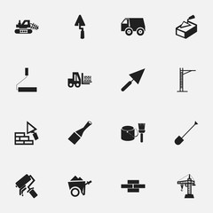 Set Of 16 Editable Structure Icons. Includes Symbols Such As Mule, Hoisting Machine, Facing And More. Can Be Used For Web, Mobile, UI And Infographic Design.