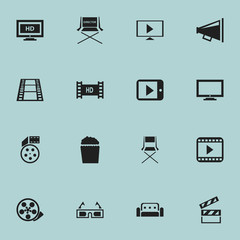 Set Of 16 Editable Movie Icons. Includes Symbols Such As Chair, Loudspeaker, Hd Tape And More. Can Be Used For Web, Mobile, UI And Infographic Design.