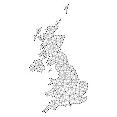 Map of United Kingdom from polygonal black lines and dots of vector illustration