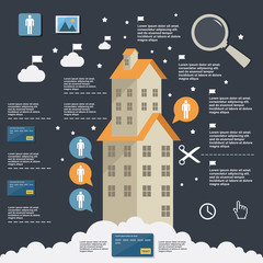 Business infographic construction of apartment houses on flat design