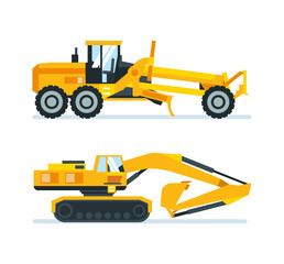 Construction machines, trucks, vehicles for transportation, asphalt, concrete mixing, crane.