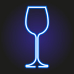 Wine glass glowing blue neon of vector illustration