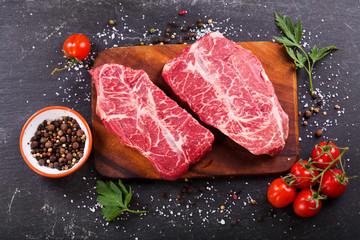 Deurstickers Vlees fresh meat with ingredients for cooking