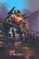 restoring the old robot in abandon factory, illustration painting