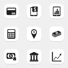 Set Of 9 Editable Financial Icons. Includes Symbols Such As Computation Machine, Money-Guard, Money Card And More. Can Be Used For Web, Mobile, UI And Infographic Design.