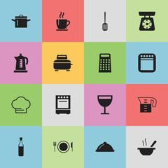Set Of 16 Editable Kitchen Icons. Includes Symbols Such As Grater, Bowl, Dish And More. Can Be Used For Web, Mobile, UI And Infographic Design.