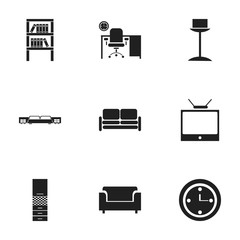 Set Of 9 Editable Home Icons. Includes Symbols Such As Watch, Mattress, Enlightenment And More. Can Be Used For Web, Mobile, UI And Infographic Design.