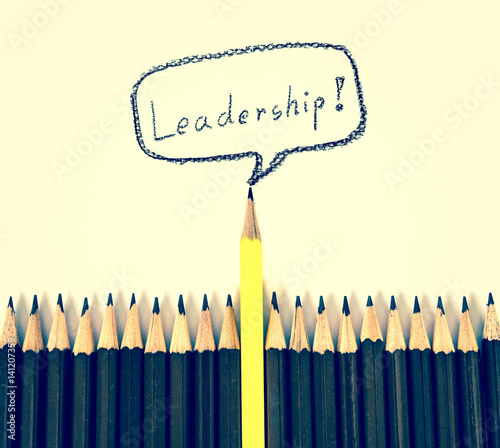 Wooden Pencil Arrange With One Different As A Symbol Of Leadership