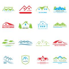 Real Estate logo design. House abstract concept icons