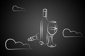 Wine art illustration on a creative background