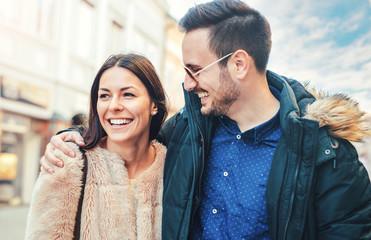 Portrait of a happy loving couple. Love, dating, romance, lifestyle concept