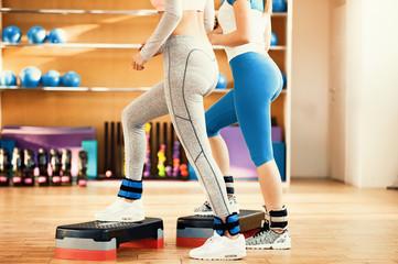 Young Women Practicing Aerobics. Fitness, Sport, Training, Aerobics Concept.