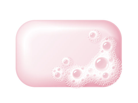 Bar of soap with foam isolated on white. Easy recolored vector