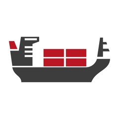 Ship with baggage silhouette vector logo icon on white