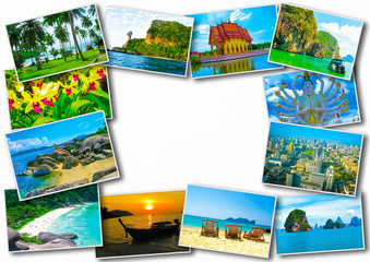 Thai travel tourism concept design - collage of Thailand images