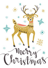 Christmas deer. Template for Greeting Scrap booking, Congratulations, Invitations, greeting card. Vector illustration with isolated christmas poster.