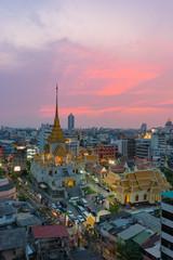Sunset sence of Wat Traimit Witthayaram Worawihan