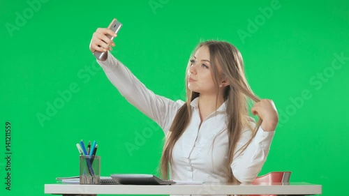 A Secretary At The Workplace Does Selfie Green Screen Alpha Stock