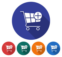 Round icon of shopping trolley with plus sign (add to cart). Flat style illustration with long shadow in five variants background color