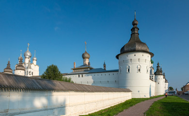 Summer view of medieval the Kremlin in Rostov the Great as part of The Golden Ring's group of medieval towns of the northeast of Moscow, Russia