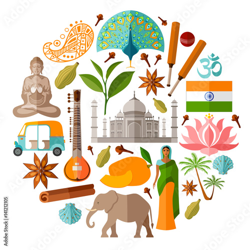 Traditional Indian Symbols In A Flat Style India Vector Icons In
