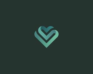 Heart vector symbol. Valentines day ribbon logotype. Gradient medical health logo icon design.