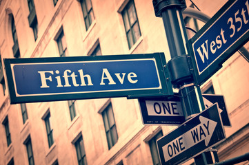 New York Fifth avenue street sign post vintage style