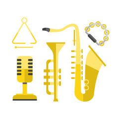 Saxophone gold icon music classical sound instrument vector illustration and brass entertainment golden band design equipment blues musician concert sax.