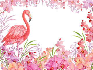floral background bird pink Flamingo and Orchid