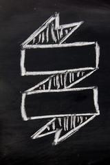 Blank ribbon draw by white chalk on black board background
