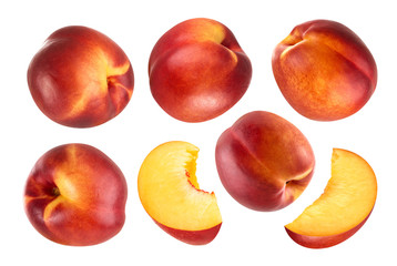 Peach isolated. Collection of whole and cut peach fruits isolated on white background with clipping path