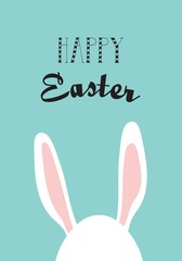 greeting card with hipster Easter rabbit