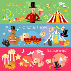 Circus banner performance magician strongman circus show magic tricks