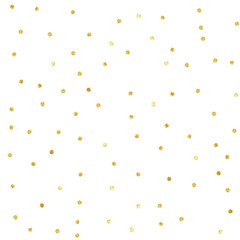 Polka Dot Confetti. Gold textured dots isolated