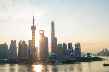 Foto op Aluminium Shanghai Shanghai , China Skyline at sunrise. Oriental Pearl Tower and Huangpu River.