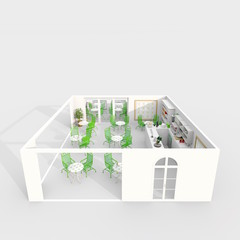 3d rendering of furnished coffee shop