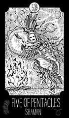 Five of Pentacles. Shaman. Minor Arcana Tarot card. Fantasy engraved illustration. See all collection in my portfolio set