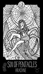 Six of Pentacles. Arachne. Minor Arcana Tarot card. Fantasy engraved illustration. See all collection in my portfolio set