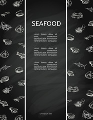 Seafood concept on chalkboard. Template with fish silhouettes for menu or brochure. Vector illustration