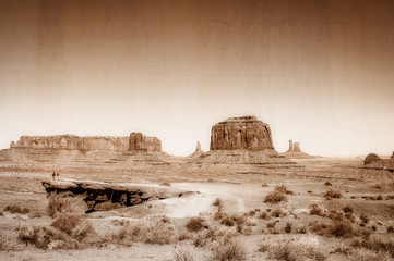 Vintage, artistic concept showing an old wild west image in Monument Valley