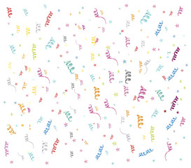 Colorful confetti on white background Vector