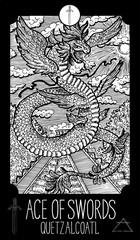Ace of Swords. Qietzalcoatl. Minor Arcana Tarot card. Fantasy engraved illustration. See all collection in my portfolio set
