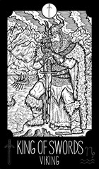 King of Swords. Viking. Minor Arcana Tarot card. Fantasy engraved illustration. See all collection in my portfolio set