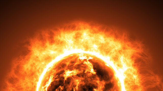 Sun surface with solar flares. Abstract scientific background