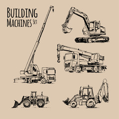 Truck Crane, Excavator, Bulldozer. Building Machines Set. Hand drawn sketch illustration