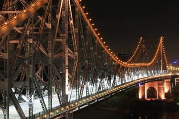 BRISBANE, AUSTRALIA: Story Bridge by Night - closeup