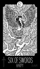Six of Swords. Harpy. Minor Arcana Tarot card. Fantasy engraved illustration. See all collection in my portfolio set