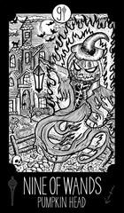 Nine of Wands. Pumpkin Head. Minor Arcana Tarot card. Fantasy engraved illustration. See all collection in my portfolio set