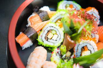 set of sushi on bowl