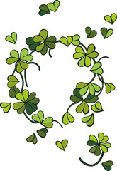 Spring wreath of clover leaves that create an image of the heart